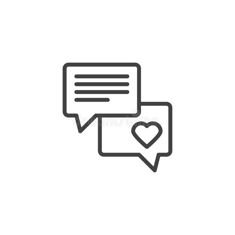 Icône d'ensemble de conversation de causerie d'amour illustration stock