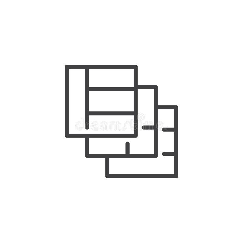 Icône d'ensemble de couches de grilles illustration libre de droits