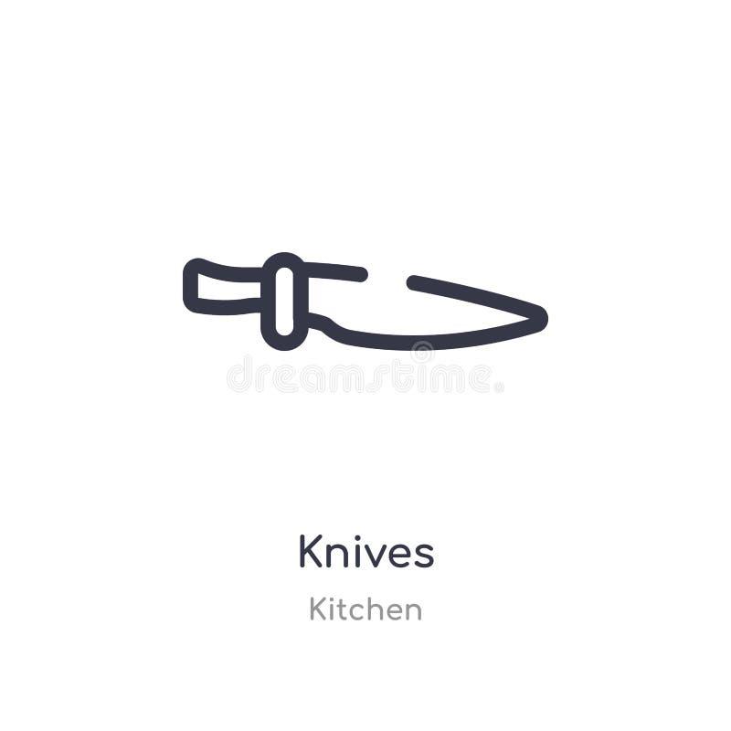 icône d'ensemble de couteaux ligne d'isolement illustration de vecteur de collection de cuisine icône mince editable de couteaux  illustration libre de droits