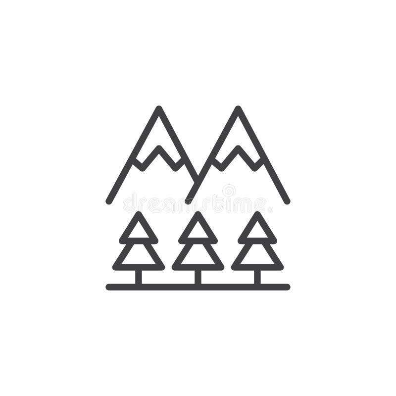 Icône d'ensemble de crêtes et d'arbres de montagne illustration libre de droits