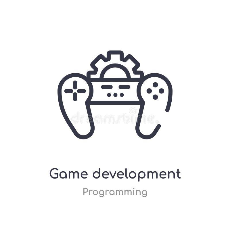 icône d'ensemble de développement de jeu ligne d'isolement illustration de vecteur de la collection de programmation jeu mince ed illustration de vecteur