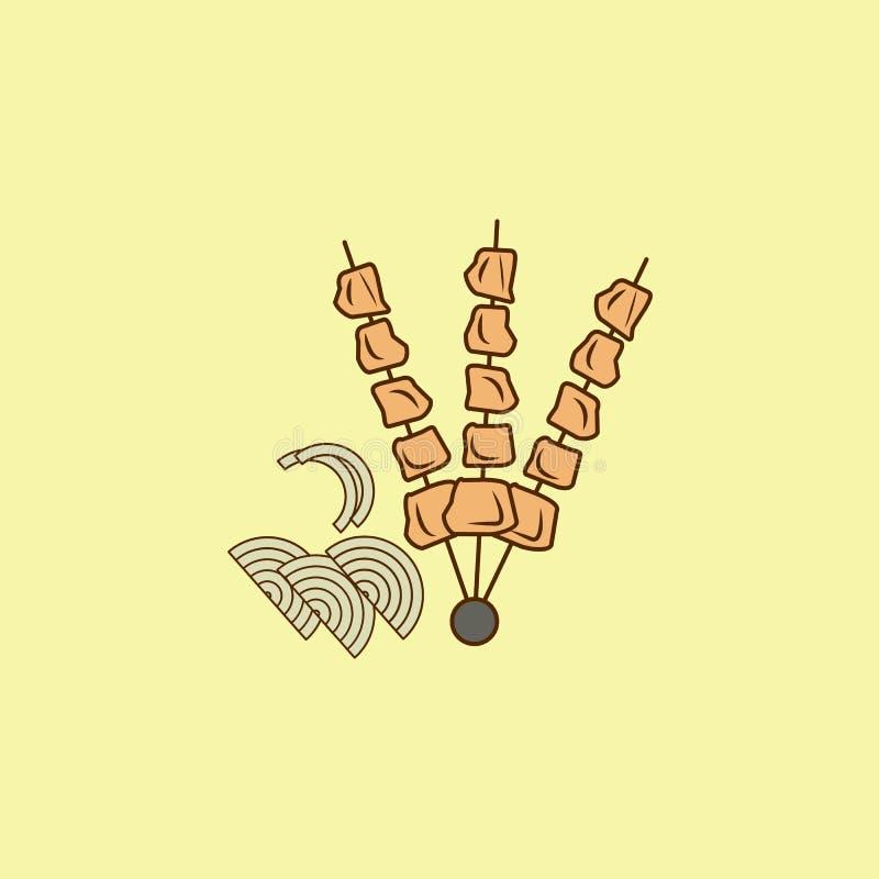 icône d'ensemble de domaine couleur de barbecue Élément d'icône Arabe de culture pour les apps mobiles de concept et de Web Icône illustration de vecteur