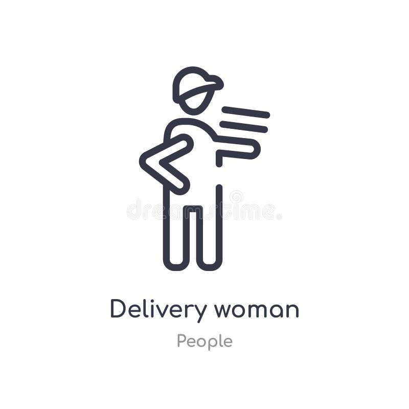 icône d'ensemble de femme de la livraison ligne d'isolement illustration de vecteur de collection de personnes icône mince editab illustration libre de droits