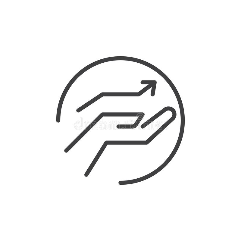 Icône d'ensemble de flèche de croissance en main illustration libre de droits