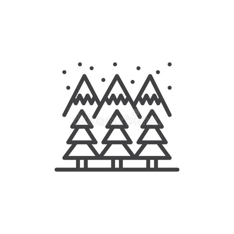 Icône d'ensemble de forêt de montagne d'hiver illustration stock