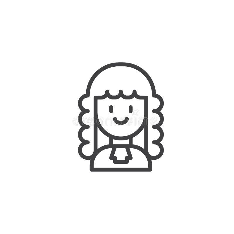 Icône d'ensemble de juge de femme illustration stock