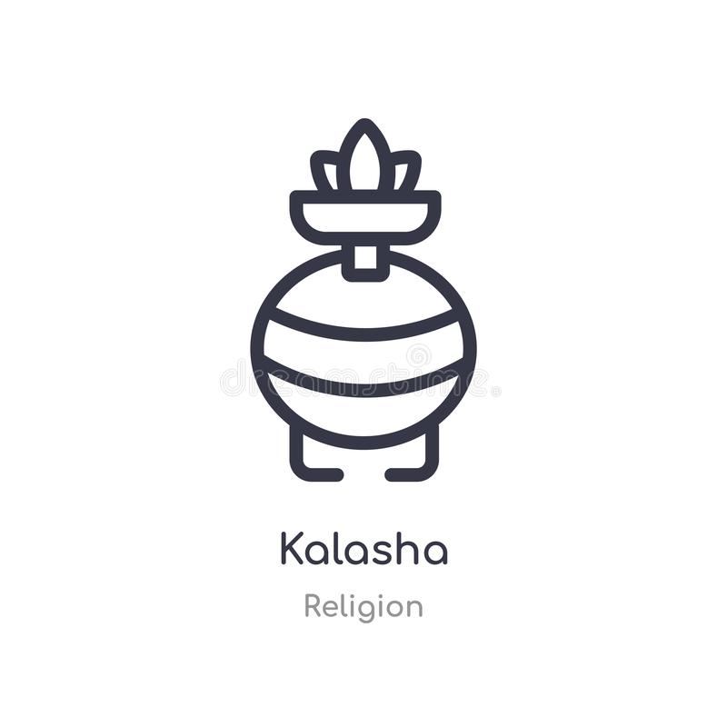 icône d'ensemble de kalasha ligne d'isolement illustration de vecteur de collection de religion icône mince editable de kalasha d illustration de vecteur