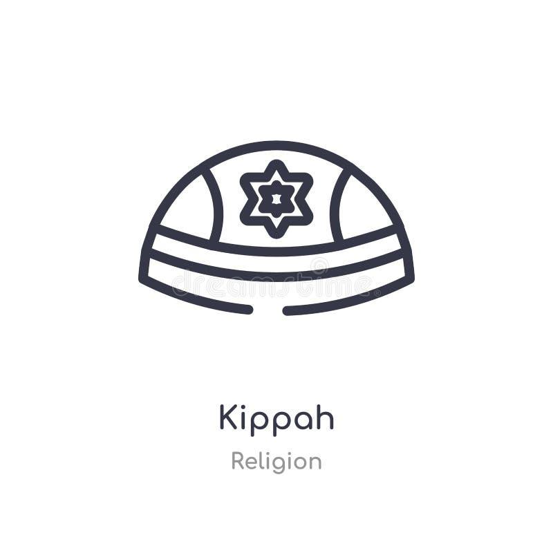 icône d'ensemble de kippah ligne d'isolement illustration de vecteur de collection de religion icône mince editable de kippah de  illustration stock