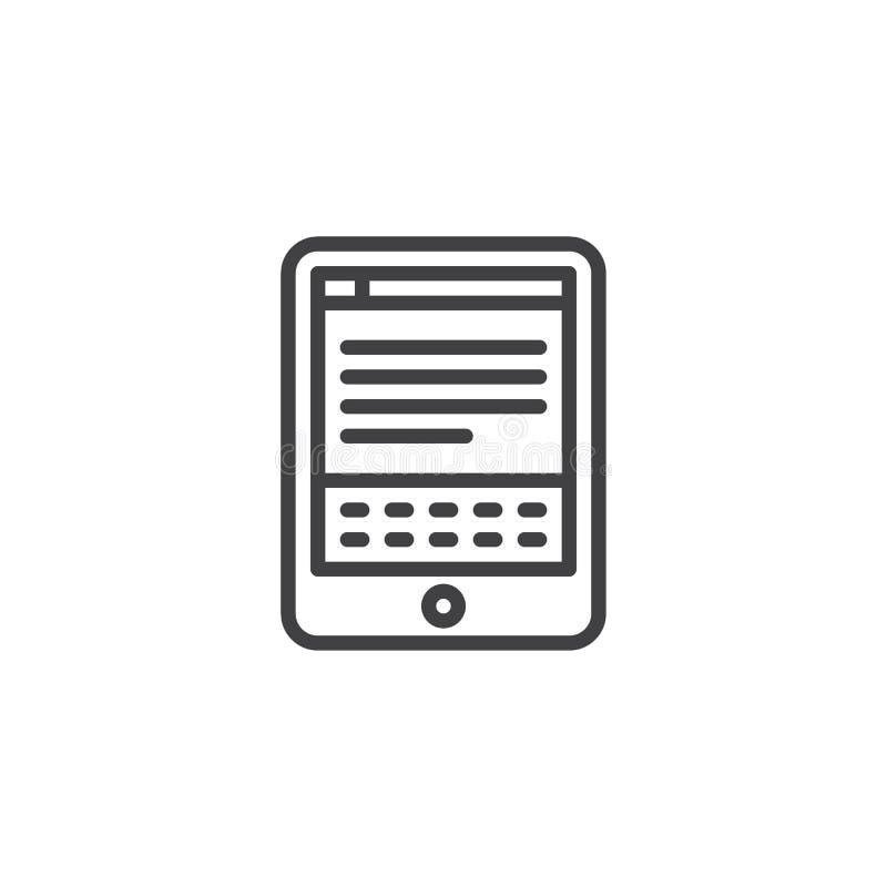Icône d'ensemble de lecteur d'EBook illustration stock