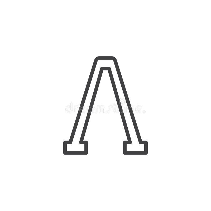 Icône d'ensemble de lettre de lambda illustration stock