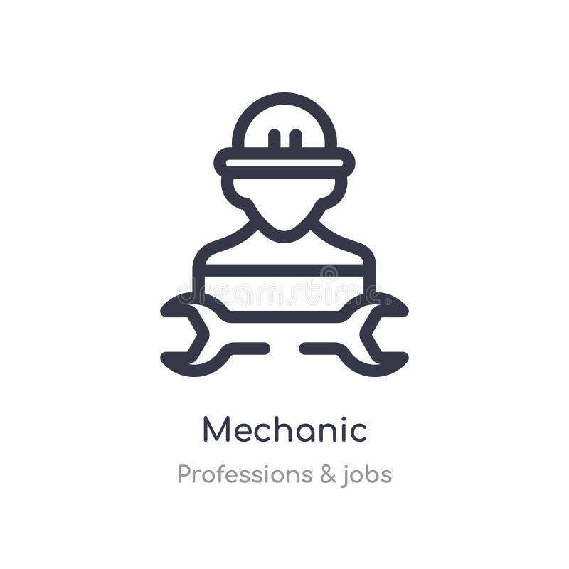 icône d'ensemble de mécanicien ligne d'isolement illustration de vecteur des professions et de la collection des travaux icône mi illustration stock