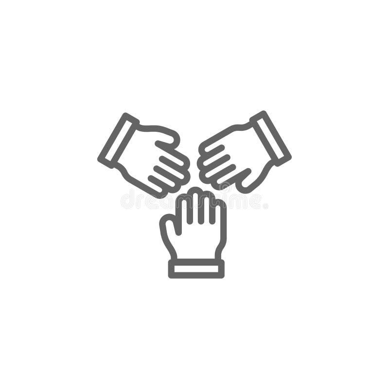 Icône d'ensemble de main de puzzle de travail d'équipe ?l?ments de ligne ic?ne d'illustration d'affaires Des signes et les symbol illustration stock