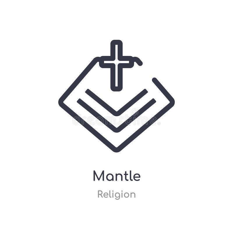 icône d'ensemble de manteau ligne d'isolement illustration de vecteur de collection de religion icône mince editable de manteau d illustration stock