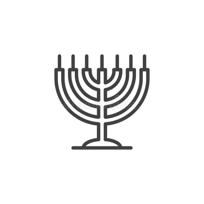 Icône d'ensemble de menorah de Hanoucca illustration stock