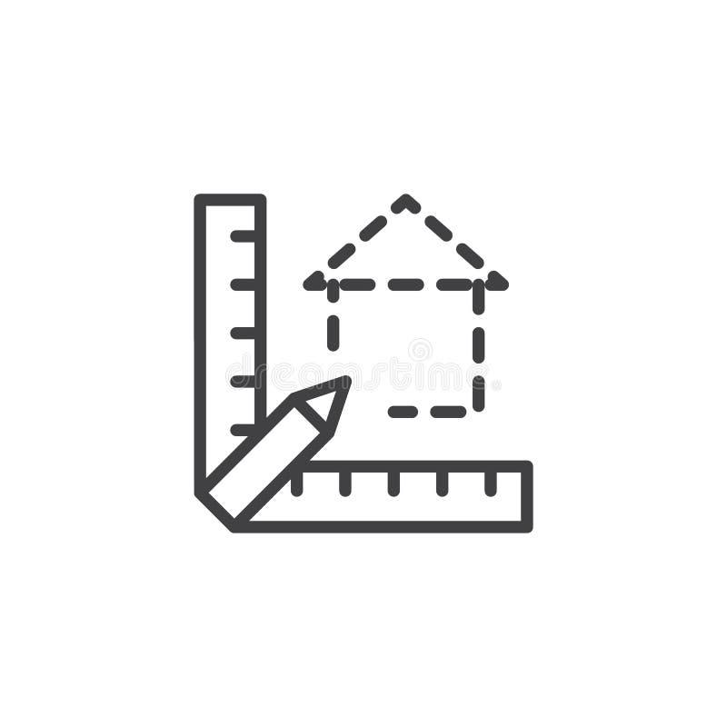Icône d'ensemble de modèle d'échelle d'architecte illustration de vecteur
