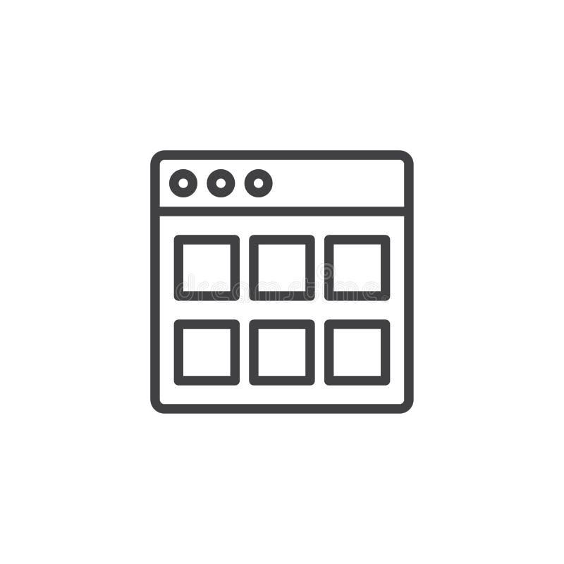 Icône d'ensemble de modules de site Web illustration stock