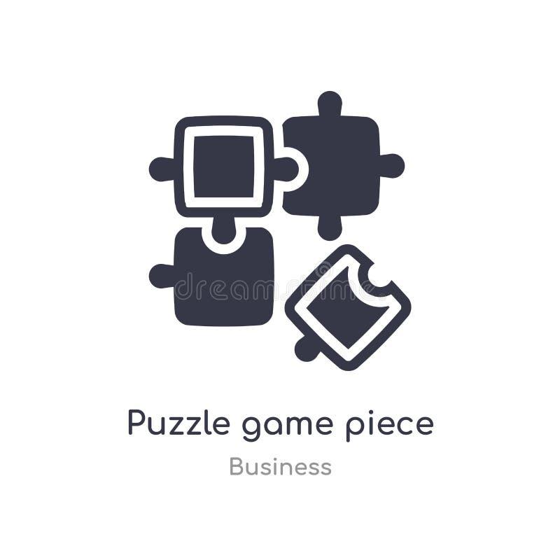 icône d'ensemble de morceau de jeu de puzzle ligne d'isolement illustration de vecteur de collection d'affaires morceau mince edi illustration de vecteur