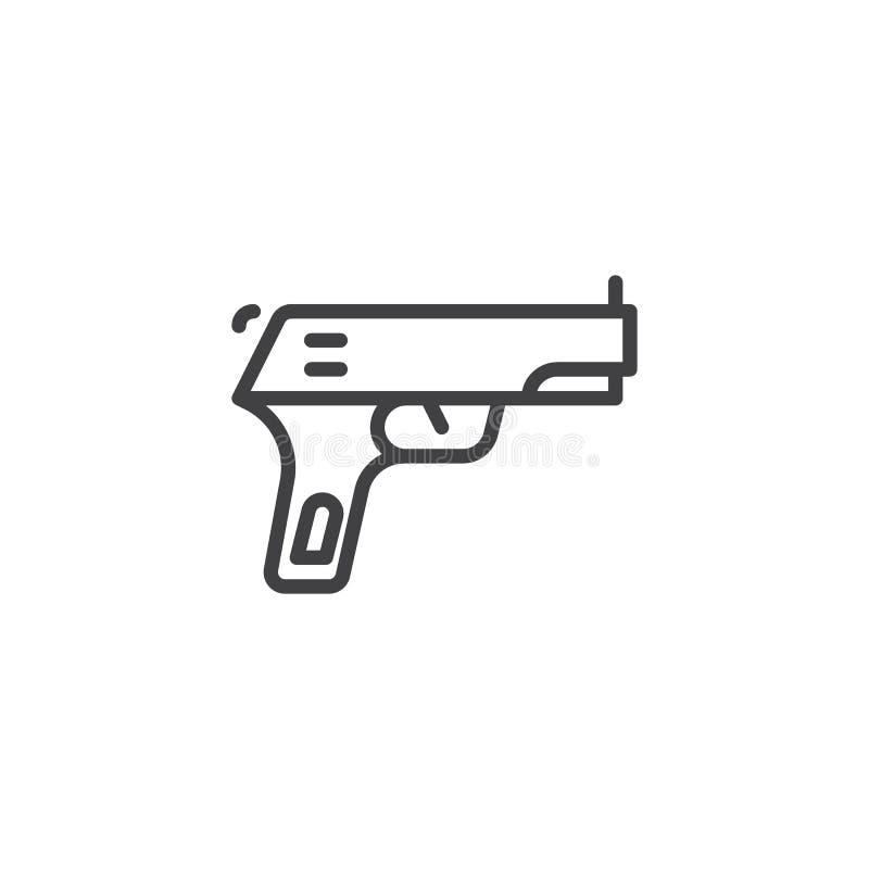 Icône d'ensemble de pistolet d'arme à feu illustration stock