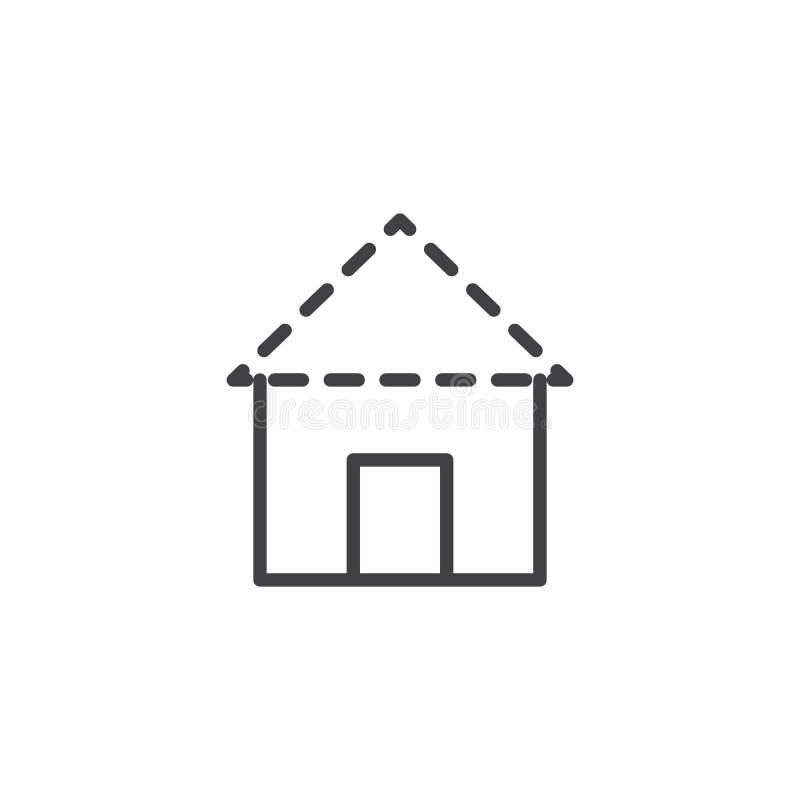 Icône d'ensemble de plan de construction de toit de Chambre illustration libre de droits
