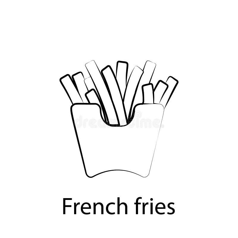 Ic?ne d'ensemble de pommes frites d'aliments de pr?paration rapide ?l?ment d'ic?ne d'illustration de nourriture Des signes et les illustration libre de droits