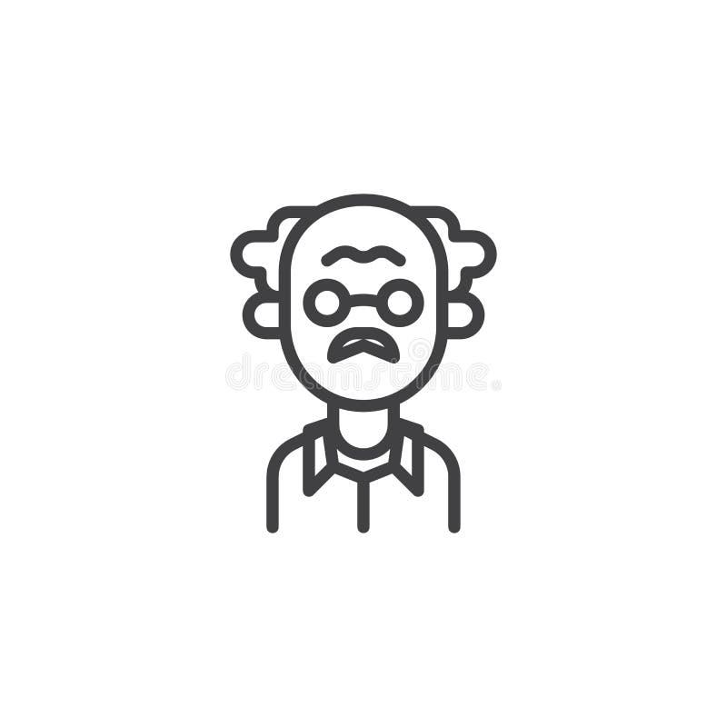Icône d'ensemble de professeur masculin illustration stock