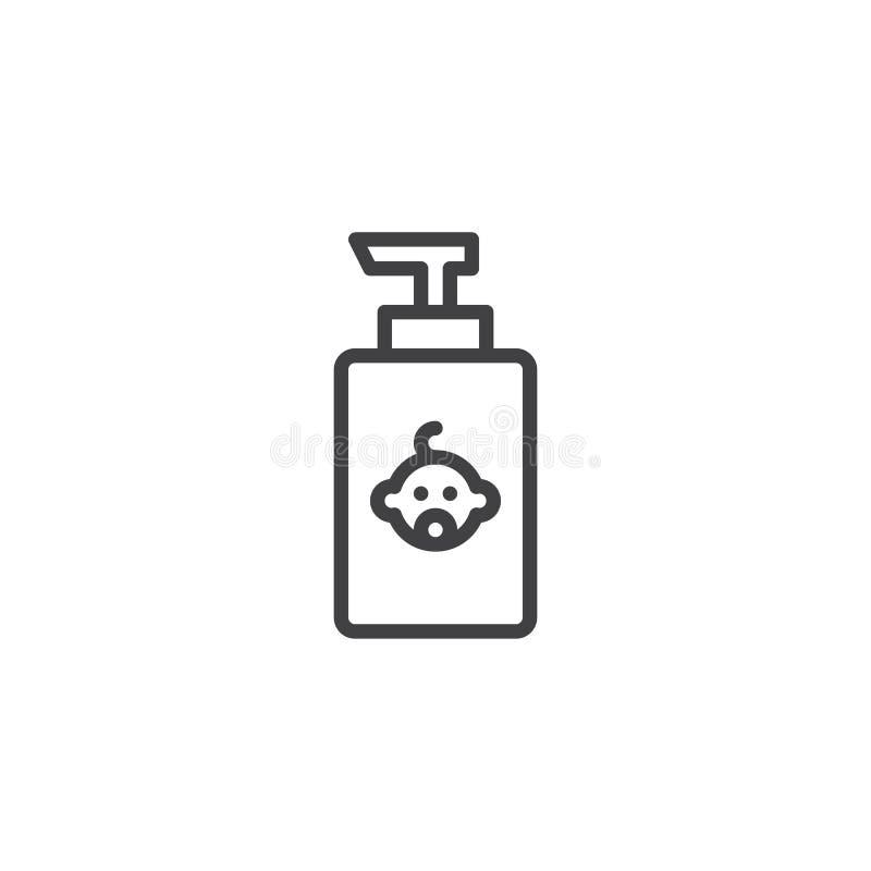 Icône d'ensemble de récipient de shampooing de bébé illustration stock