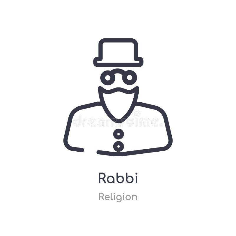 icône d'ensemble de rabbin ligne d'isolement illustration de vecteur de collection de religion icône mince editable de rabbin de  illustration de vecteur