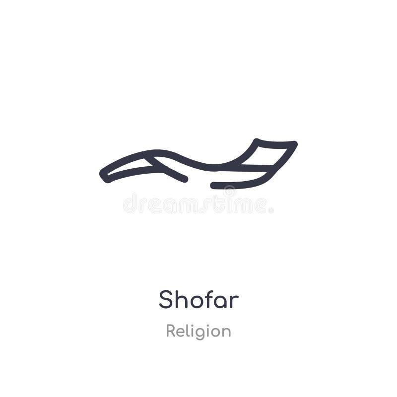 icône d'ensemble de shofar ligne d'isolement illustration de vecteur de collection de religion icône mince editable de shofar de  illustration stock