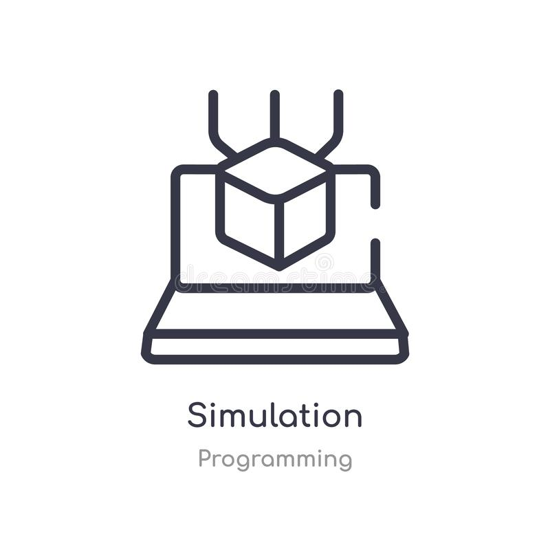 icône d'ensemble de simulation ligne d'isolement illustration de vecteur de la collection de programmation icône mince editable d illustration libre de droits