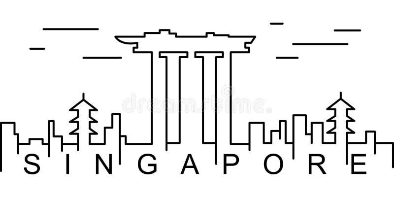 Icône d'ensemble de Singapour Peut être employé pour le Web, logo, l'appli mobile, UI, UX illustration de vecteur