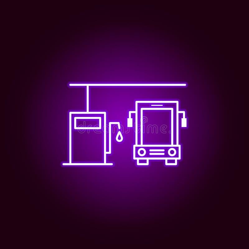 icône d'ensemble de station d'essence d'autobus dans le style au néon Éléments d'illustration de réparation de voiture dans l'icô illustration libre de droits