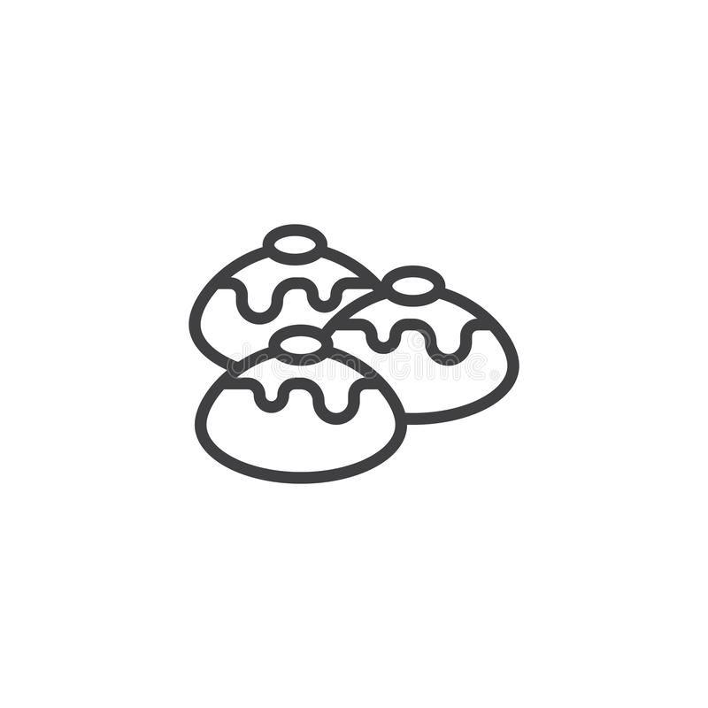 Icône d'ensemble de sufganiyot de Hanoucca illustration de vecteur