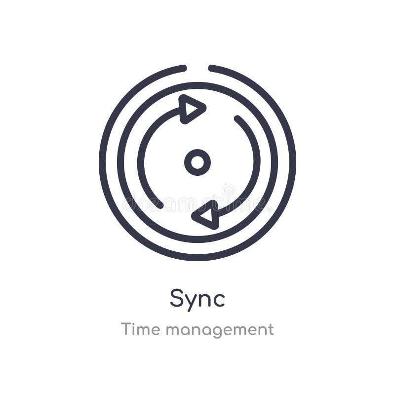 icône d'ensemble de synchronisation ligne d'isolement illustration de vecteur de collection de gestion du temps icône mince edita illustration de vecteur