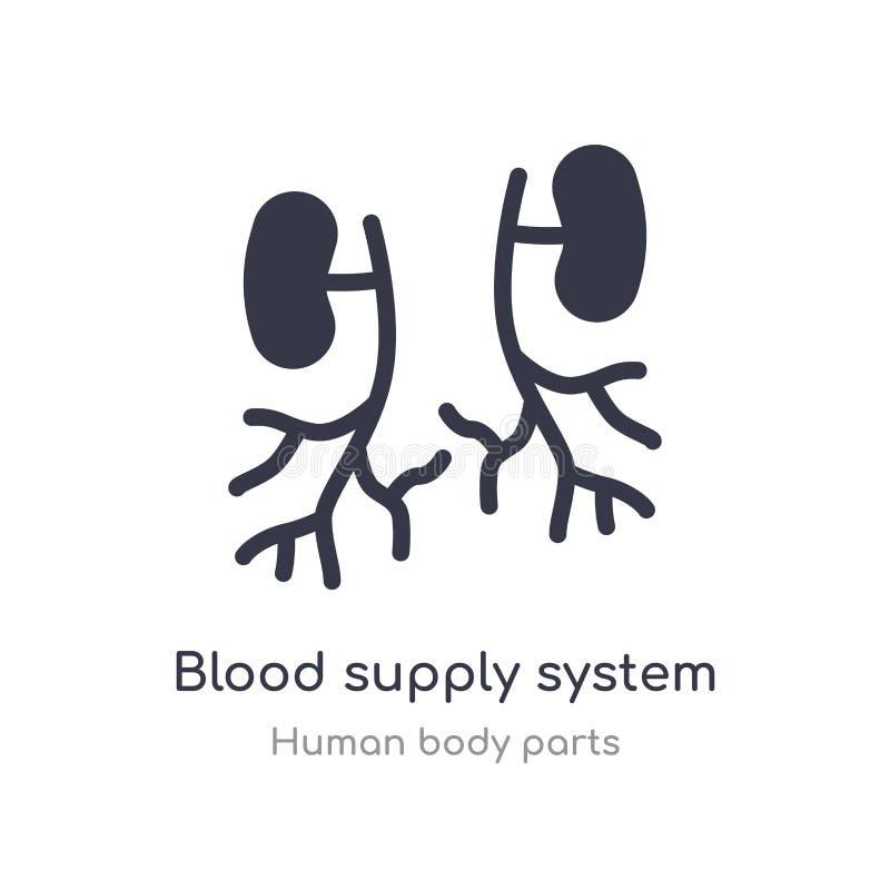 icône d'ensemble de système d'approvisionnement en sang ligne d'isolement illustration de vecteur de collection de pi?ces de corp illustration stock