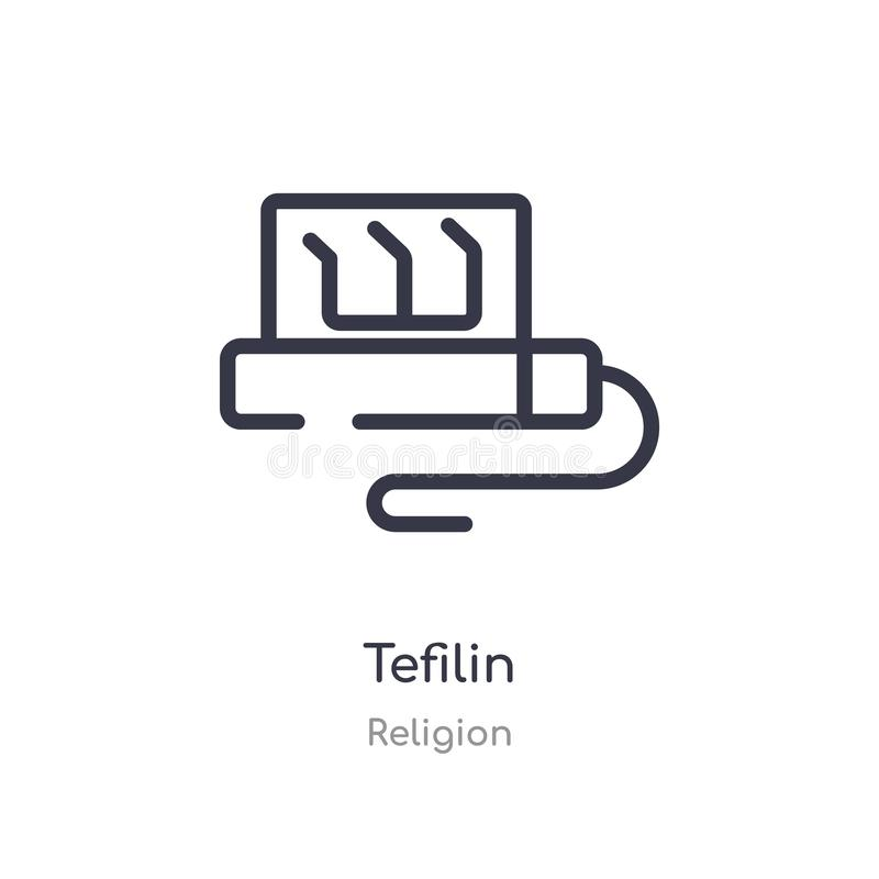 icône d'ensemble de tefilin ligne d'isolement illustration de vecteur de collection de religion icône mince editable de tefilin d illustration libre de droits