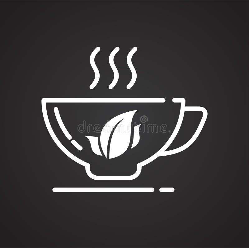 Icône d'ensemble de thé sur le fond noir pour le graphique et la conception web, signe simple moderne de vecteur Internet bleu de illustration libre de droits