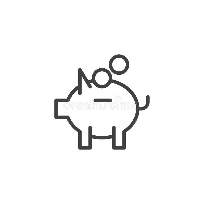 Icône d'ensemble de tirelire et d'argent de pièces de monnaie illustration stock
