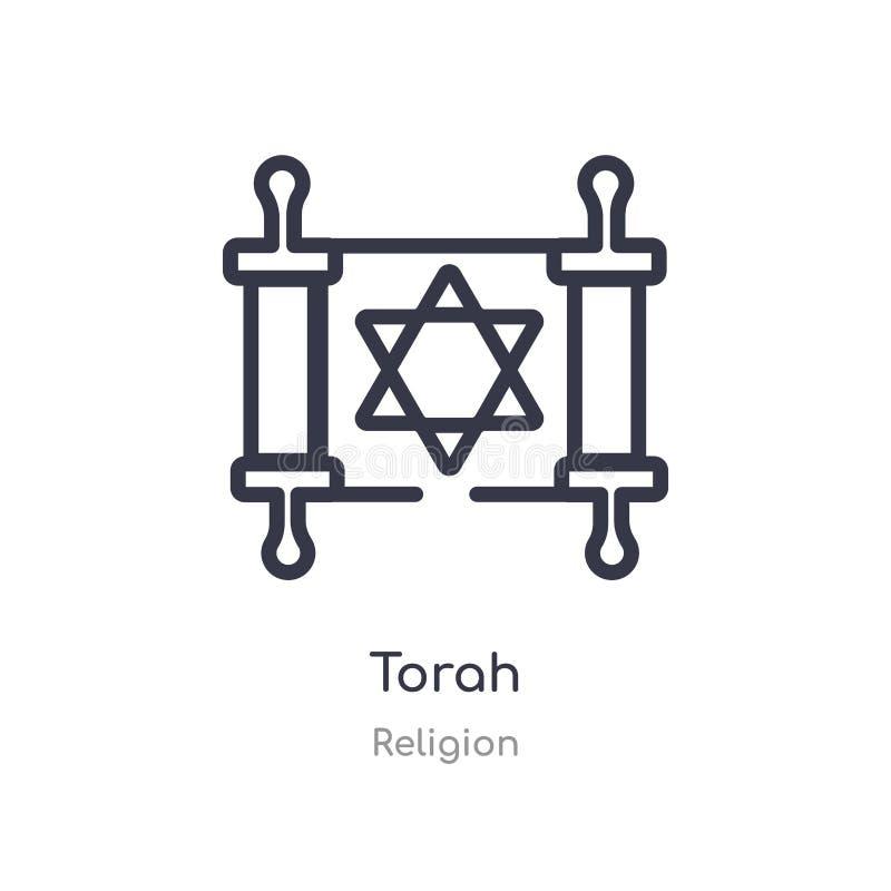 icône d'ensemble de torah ligne d'isolement illustration de vecteur de collection de religion icône mince editable de torah de co illustration libre de droits