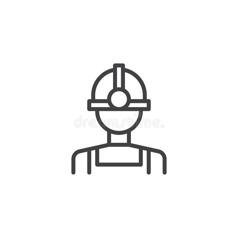 Icône d'ensemble de travailleur de mineur d'huile illustration de vecteur