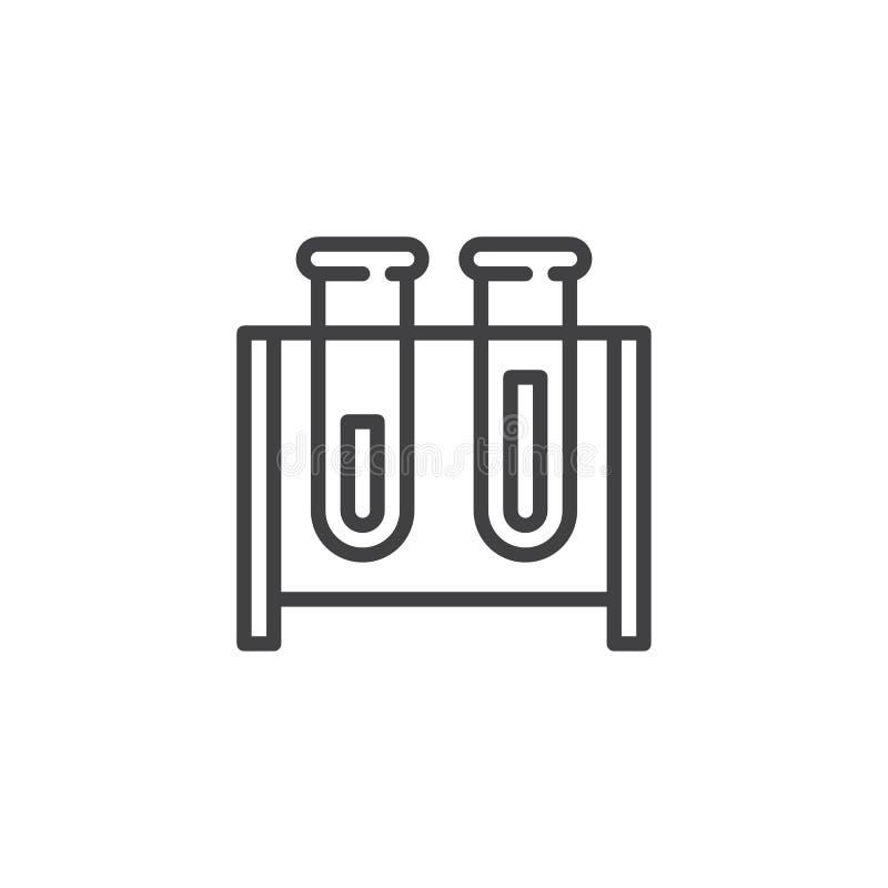 Icône d'ensemble de tubes à essai illustration stock