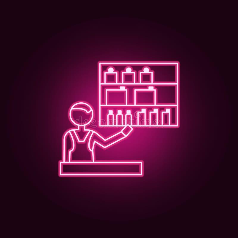 icône d'ensemble de vendeur de cosmétiques Éléments de centre commercial de mail dans les icônes au néon de style Icône simple po illustration de vecteur
