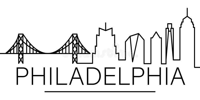 Icône d'ensemble de ville de Philadelphie éléments de ligne icône d'illustration de paysages urbains des signes, symboles peuvent illustration de vecteur