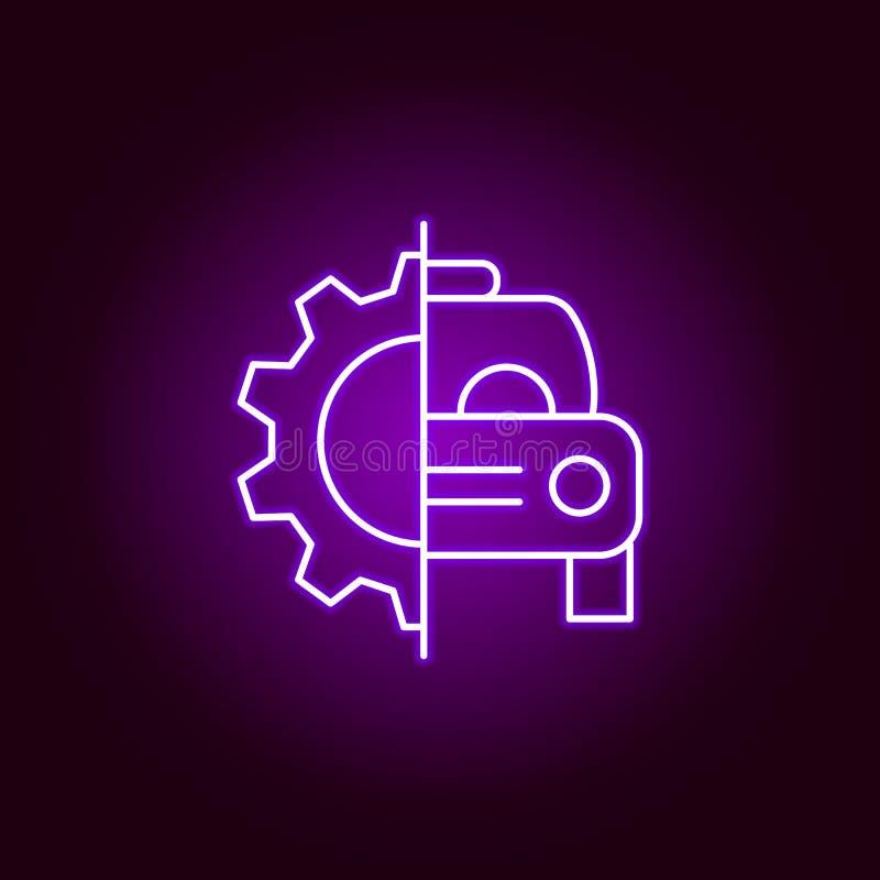 icône d'ensemble de vitesse de réparation de voiture dans le style au néon Éléments d'illustration de réparation de voiture dans  illustration de vecteur