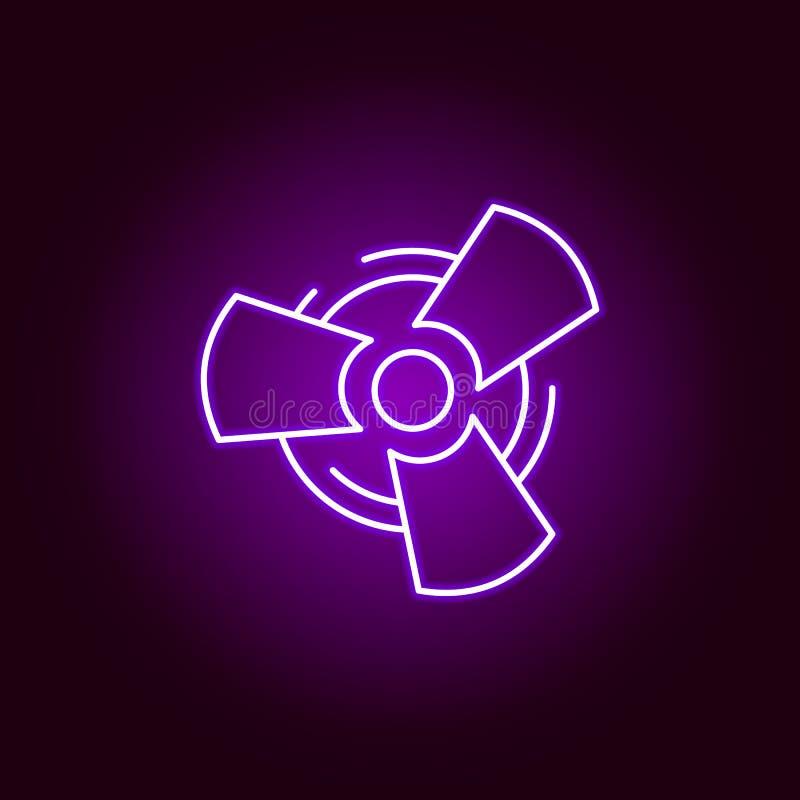 icône d'ensemble de voiture de fan dans le style au néon Éléments d'illustration de réparation de voiture dans l'icône au néon de illustration libre de droits
