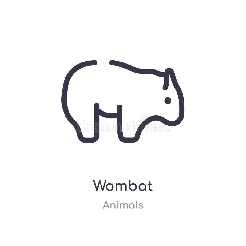 icône d'ensemble de wombat ligne d'isolement illustration de vecteur de collection d'animaux icône mince editable de wombat de co illustration libre de droits