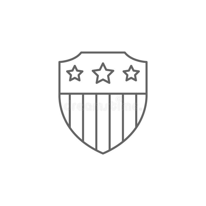 icône d'ensemble des Etats-Unis de drapeau de bouclier Éléments d'icône d'illustration de Jour de la Déclaration d'Indépendance D illustration de vecteur