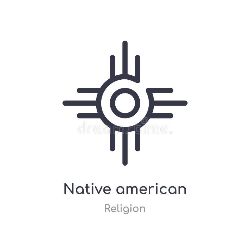 icône d'ensemble du soleil de natif américain ligne d'isolement illustration de vecteur de collection de religion natif américain illustration de vecteur