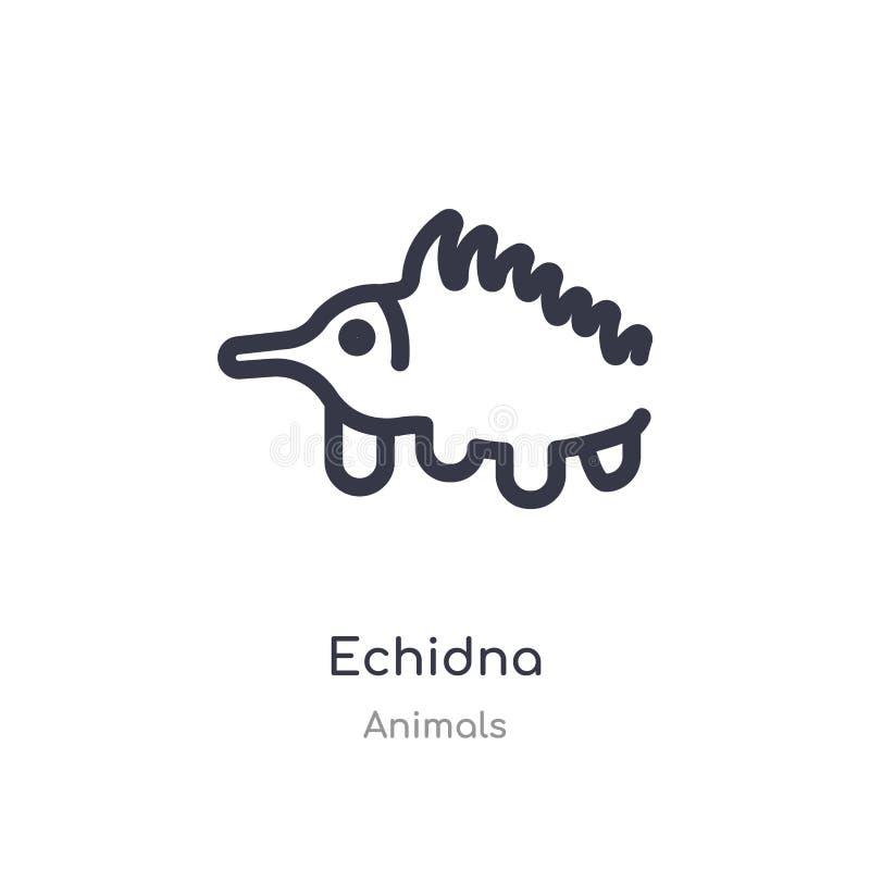 icône d'ensemble d'echidna ligne d'isolement illustration de vecteur de collection d'animaux icône mince editable d'echidna de co illustration libre de droits