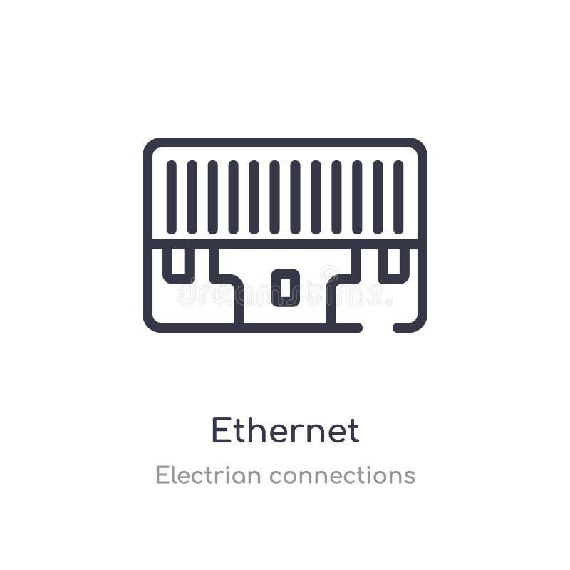 icône d'ensemble d'Ethernet ligne d'isolement illustration de vecteur de la collection electrian de connexions icône mince editab illustration libre de droits