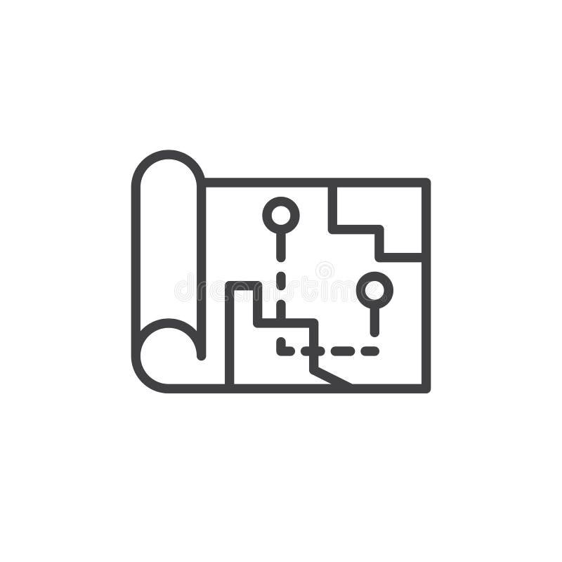 Icône d'ensemble d'itinéraire de carte illustration stock